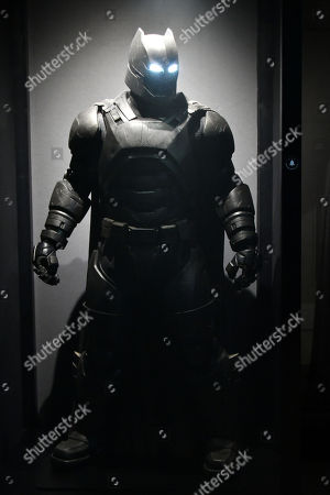 Stock Picture of Armored Batsuit costume worn by Ben Affleck in Batman v Superman, Dawn of Justice, 2016, designed by Michael Wilkinson