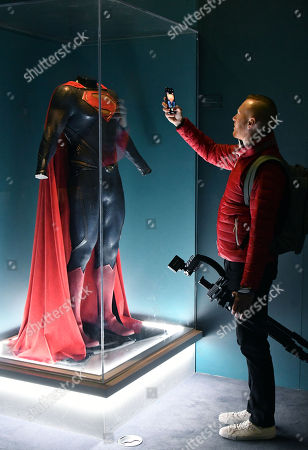 Stock Image of Superman costume worn by Henry Cavill in Man of Steel, 2013, designed by Michael Wilkinson & James Acheson