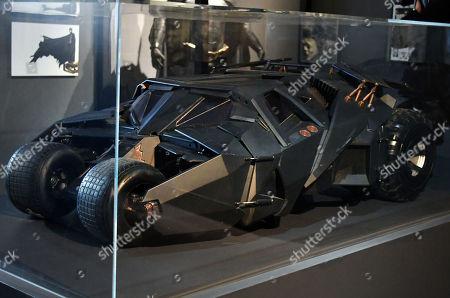 Miniature Batmobile (Tumbler) from Batman Begins, 2005, designed by Nathan Crowley