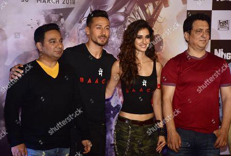Stock Image of Director Ahmed Khan, Indian film actor Tiger Shroff, Actress Disha Patani and Producer Sajid Nadiadwala