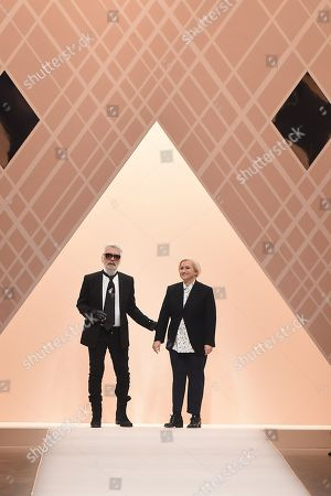 Karl Lagerfeld and Silvia Venturini Fendi on the catwalk