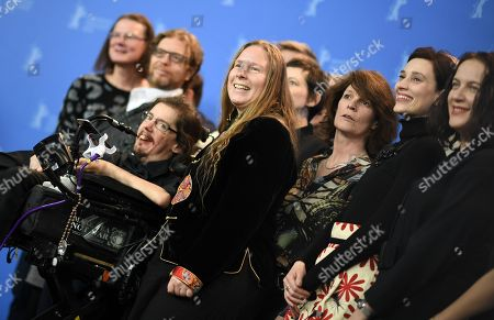 (L-R) Actors Christian Bayerlein (L), Grit Uhlemann (2-L), Laura Benson (3-R) and Irmena Chichikova (2-R) pose with crew and cast of 'Touch me not' during a photocall at the 68th annual Berlin International Film Festival (Berlinale), in Berlin, Germany, 22 February 2018. The Berlinale runs from 15 to 25 February.