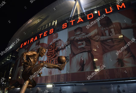 A general view of the Dennis Bergkamp statue outside of the Emirates Stadium