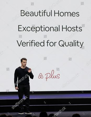 Airbnb co-founder and CEO Brian Chesky talks about a new Plus program during an event, in San Francisco. Airbnb is dispatching inspectors to rate a new category of properties listed on its home-rental service in an effort to reassure travelers they're booking nice places to stay. The program is aimed at winning over travelers who aren't sure they can trust the computer-driven system that Airbnb uses to assess the quality of rentals