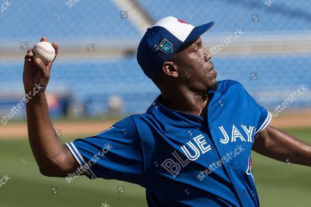 Toronto Blue Jays relief pitcher Carlos Ramirez practices during spring training baseball, in Dunedin, Fla