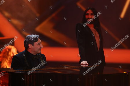 Mousse T. and Conchita perform during the 53rd annual 'Goldene Kamera' (Golden Camera) film and television award ceremony in Hamburg, Germany, 22 February 2018.