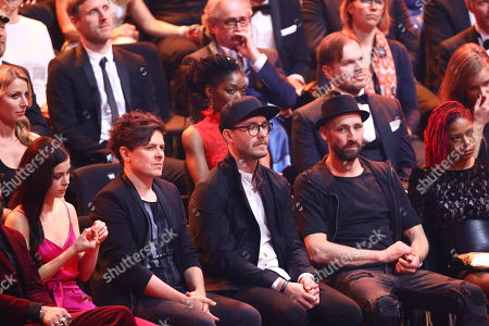 Singers (L-R) Lena Meyer-Landrut, Michael Patrick Kelly, Mark Foster and Gentleman attend the 53rd annual 'Goldene Kamera' (Golden Camera) film and television award ceremony in Hamburg, Germany, 22 February 2018. Liam Neeson was awarded for his lifetime achievement.