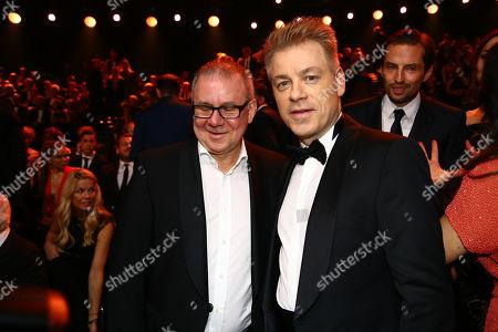 Michael Mittermeier (R) during the 53rd annual 'Goldene Kamera' (Golden Camera) film and television award ceremony in Hamburg, Germany, 22 February 2018.
