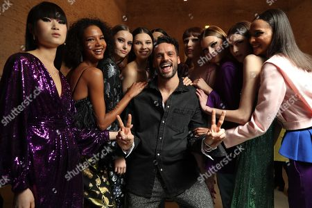 Christian Pellizzari and Models backstage