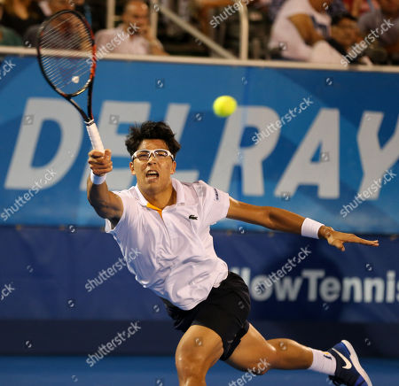 Hyeon Chung, from Korea, plays against Franko Skugor, from Croatia, during the Delray Beach Open ATP professional tennis tournament, played at the Delray Beach Stadium & Tennis Center in Delray Beach, Florida, USA. Hyeon Chung won 6-4, 7-6 (4)