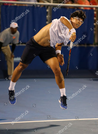 Hyeon Chung, from Korea, serves against Franko Skugor, from Croatia, during the Delray Beach Open ATP professional tennis tournament, played at the Delray Beach Stadium & Tennis Center in Delray Beach, Florida, USA. Hyeon Chung won 6-4, 7-6 (4)