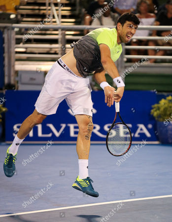 Franko Skugor, from Croatia, serves against Hyeon Chung, from Korea, during the Delray Beach Open ATP professional tennis tournament, played at the Delray Beach Stadium & Tennis Center in Delray Beach, Florida, USA. Hyeon Chung won 6-4, 7-6 (4)