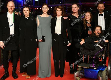 (L-R) Tomas Lemarquis, Adina Pintilie, Irmena Chichikova, Laura Benson, Hanna Hofmann, Grit Uhlemann, Christian Bayerlein and Dirk Lange arrive for the premiere of 'Touch me not' during the 68th annual Berlin International Film Festival (Berlinale), in Berlin, Germany, 22 February 2018. The Berlinale runs from 15 to 25 February.