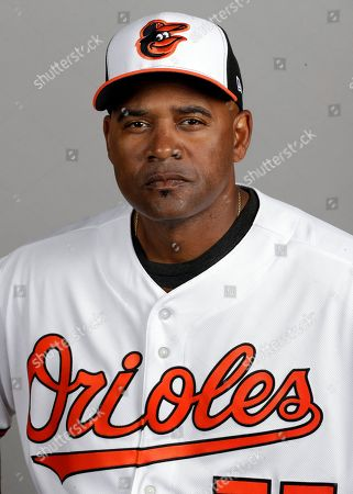 Stock Image of Baltimore Orioles bullpen coach Alan Mills is shown during the teams photo day in Sarasota, Fla. This photo represents the active roster as of Feb. 20, 2018