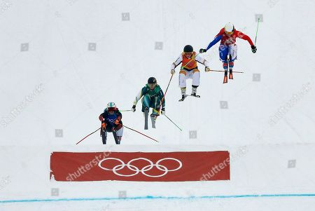 From left; Sanna Luedi, of Switzerland, Sami Kennedy-Sim, of Australia, Lisa Andersson, of Sweden, and Alizee Baron, of France, run the course during the women's ski cross small final at Phoenix Snow Park at the 2018 Winter Olympics in Pyeongchang, South Korea, . (AP Photo/Kin Cheung