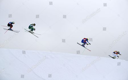 (from right) Lisa Andersson of Sweden, Alizee Baron of France, Sami Kennedy-Sim of Australia and Sanna Luedi of Switzerland compete in the small final of the Women's Freestyle Skiing Ski Cross competition at the Bokwang Phoenix Park during the PyeongChang 2018 Olympic Games, South Korea, 23 February 2018.