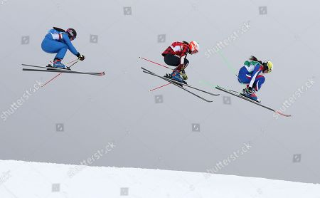 (from right) Alizee Baron of France, Brittany Phelan of Canada and Debora Pixner of Italy compete in the quarter finals of the Women's Freestyle Skiing Ski Cross competition at the Bokwang Phoenix Park during the PyeongChang 2018 Olympic Games, South Korea, 23 February 2018.