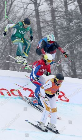 (from right) Lisa Andersson of Sweden, Alizee Baron of France, Sami Kennedy-Sim of Australia and Sanna Luedi (back right) of Switzerland compete in the small final of the Women's Freestyle Skiing Ski Cross competition at the Bokwang Phoenix Park during the PyeongChang 2018 Olympic Games, South Korea, 23 February 2018.