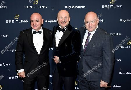 Mark Kelly, Georges Kern, Scott Kelly. Astronaut Mark Kelly, left, Breitling CEO Georges Kern and astronaut Scott Kelly attend the Breitling Global Roadshow event at The Duggal Greenhouse, in New York