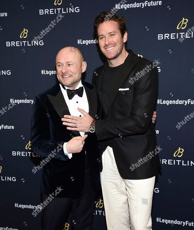 Georges Kern, Armie Hammer. Breitling CEO Georges Kern, left, and actor Armie Hammer attend the Breitling Global Roadshow event at The Duggal Greenhouse, in New York
