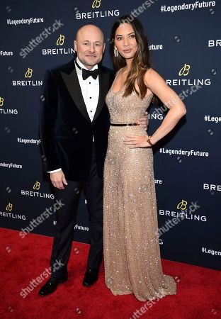 Georges Kern, Olivia Munn. Breitling CEO Georges Kern, left, and actor Olivia Munn attend the Breitling Global Roadshow event at The Duggal Greenhouse, in New York