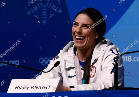 United States' Hilary Knight, gold medalist in the women's hockey talks during a news conference at the 2018 Winter Olympics in Pyeongchang, South Korea, . Twenty years after taking gold when the sport was added to the Olympics, the United States snapped Canada's streak of four straight golds on Thursday
