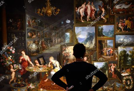 A visitor looks at the artwork 'Sight and Smell' during a press preview of the 'Velazquez and the celebration of painting: the Golden Age in the Museo del Prado' exhibition at the National Museum of Western Art in Tokyo, Japan, 23 February 2018. The exhibition presents some 70 masterpieces from the Museo del Prado featuring seven paintings of Diego Velazquez. The exhibition will be open to the public from 24 February to 27 May 2018.