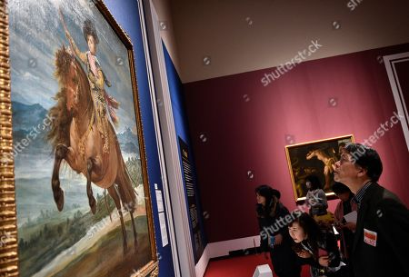 Visitors look at the artwork 'Prince Baltasar Carlos on Horseback' by Spanish artist Diego Velazquez during a press preview of the 'Velazquez and the celebration of painting: the Golden Age in the Museo del Prado' exhibition at the National Museum of Western Art in Tokyo, Japan, 23 February 2018. The exhibition presents some 70 masterpieces from the Museo del Prado featuring seven paintings of Diego Velazquez. The exhibition will be open to the public from 24 February to 27 May 2018.