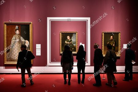 Visitors look at artworks during a press preview of the 'Velazquez and the celebration of painting: the Golden Age in the Museo del Prado' exhibition at the National Museum of Western Art in Tokyo, Japan, 23 February 2018. The exhibition presents some 70 masterpieces from the Museo del Prado featuring seven paintings of Diego Velazquez. The exhibition will be open to the public from 24 February to 27 May 2018.