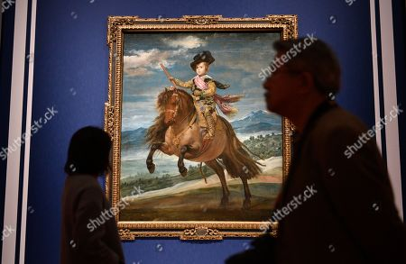 Visitors walk past the artwork 'Prince Baltasar Carlos on Horseback' by Spanish artist Diego Velazquez during a press preview of the 'Velazquez and the celebration of painting: the Golden Age in the Museo del Prado' exhibition at the National Museum of Western Art in Tokyo, Japan, 23 February 2018. The exhibition presents some 70 masterpieces from the Museo del Prado featuring seven paintings of Diego Velazquez. The exhibition will be open to the public from 24 February to 27 May 2018.