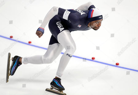 Shani Davis of the USA in action during the Men's Speed Skating 1000 m competition at the Gangneung Oval during the PyeongChang 2018 Olympic Games, South Korea, 23 February 2018.