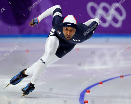 Shani Davis of the U.S. competes during the men's 1,000 meters speedskating race at the Gangneung Oval at the 2018 Winter Olympics in Gangneung, South Korea