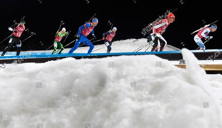 Stock Image of Lowell Bailey of the US (3-L) at the start of the Men's Biathlon 4 x 7,5 km Relay race at the Alpensia Biathlon Centre during the PyeongChang 2018 Olympic Games, South Korea, 23 February 2018.