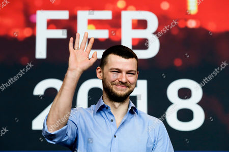 Stock Photo of Actor Mateusz Kosciukiewicz attends a news conference for the movie 'Mug' during the 68th edition of the International Film Festival Berlin, Berlinale, in Berlin, Germany
