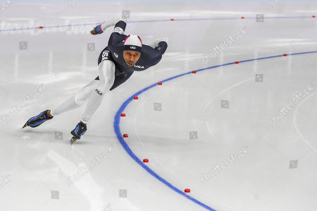 Stock Picture of Shani Davis of United States at 1000 meter speedskating at winter olympics, Gangneung South Korea