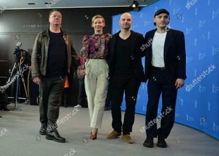 German Actor Peter Kurth ,German Actress Sandra Hueller , German Director Thomas Stuber and German Actor Franz Rogowski (L-R) pose during a photocall for 'In the Aisles - In den Gaengen' at the 68th annual Berlin International Film Festival (Berlinale), in Berlin, Germany, 23 February 2018. The Berlinale runs from 15 to 25 February.