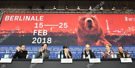 German Producer Fabian Maubach , German Producer Jochen Laube , German Actor Franz Rogowski , German Director Thomas Stuber , German Actress Sandra Hueller  and German Actor Peter Kurth (L-R) attends a press conference for  'In the Aisles - In den Gaengen'  at the 68th annual Berlin International Film Festival (Berlinale), in Berlin, Germany,23 February 2018. The Berlinale runs from 15 to 25 February.
