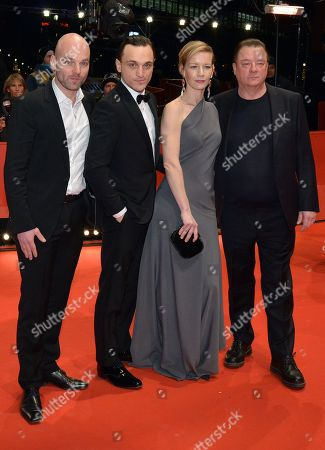 (L-R) Thomas Stuber, Franz Rogowski, Sandra Hueller and Peter Kurth arrive for the premiere of 'In den Gaengen' during the 68th annual Berlin International Film Festival (Berlinale), in Berlin, Germany, 23 February 2018. The Berlinale runs from 15 to 25 February.