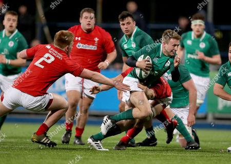 Ireland U20's vs Wales U20's. Ireland's Jonny Stewart with Wales' Iestyn Harris