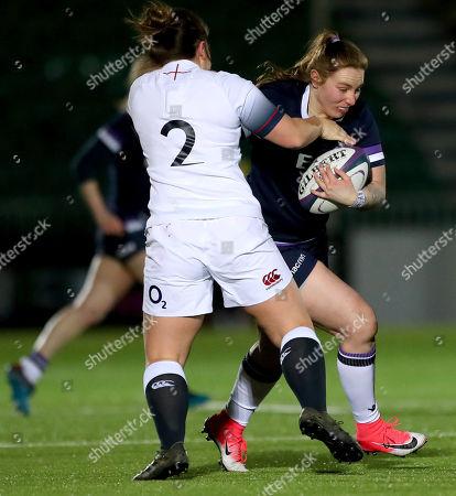 Scotland Women vs England Women. England's Amy Cokayne and Jade Konkel of Scotland