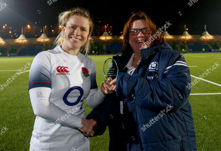 Scotland Women vs England Women. England's Danielle Waterman presented with the player of the game by Rosie Huw from the SRU