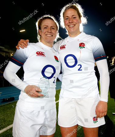 Scotland Women vs England Women. England's Danielle Waterman and Amber Reed celebrate