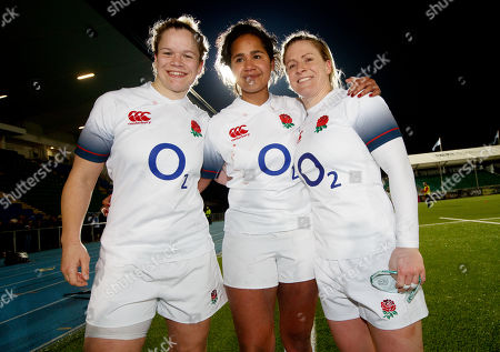 Scotland Women vs England Women. England's Justine Lucas, Lagi Tuima and Danielle Waterman after the game