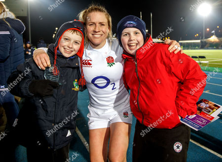 Scotland Women vs England Women. England's Danielle Waterman celebrates with her cousins after the game