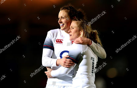 Scotland Women vs England Women. England's Charlotte Pearce and Danielle Waterman celebrate after the game