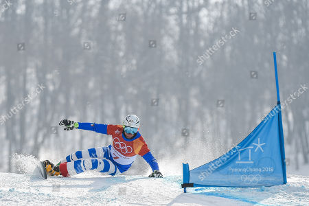 Roland Fischnaller of  Italy at parallel giant slalom at winter olympics, Gangneung South Korea