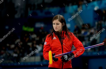 Britain's skip Eve Muirhead looks down during the women's bronze medal curling match against Japan at the 2018 Winter Olympics in Gangneung, South Korea