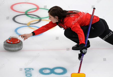 Britain's skip Eve Muirhead launches the stone during their women's curling match against Japan at the 2018 Winter Olympics in Gangneung, South Korea, . Japan won the bronze