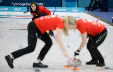 Britain's skip Eve Muirhead makes a call during the women's bronze medal curling match against Japan at the 2018 Winter Olympics in Gangneung, South Korea