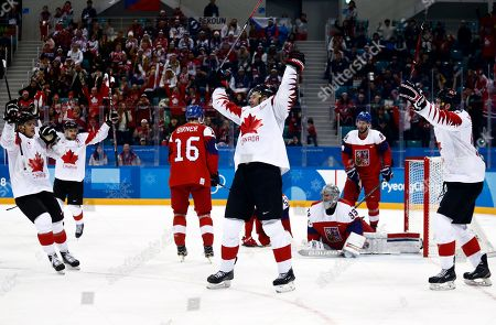 Wojtek Wolski  (C) of Canada celebrates after scoring during the Men's Ice Hockey bronze medal game between Czech Republic and Canada at the Gangneung Hockey Centre during the PyeongChang 2018 Winter Olympic Games, in Gangneung, South Korea, 24 February 2018.
